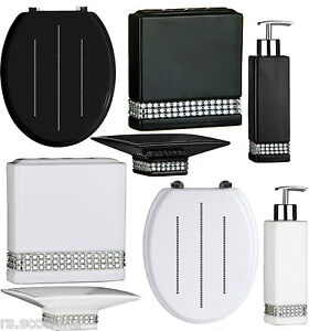BATHROOM ACCESSORIES SET TOILET SEAT BLACK AND WHITE RADIANCE EBay