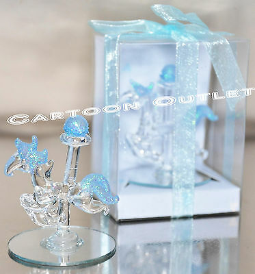 12 PC CRYSTAL CAROUSEL GLASS BABY SHOWER PARTY FAVORS BLUE RECUERDOS HORSE GIFTS - Carousel Party Favors