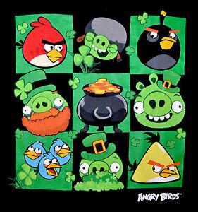 Angry-Birds-Graphic-Tee-St-Patricks-Day-Themed-T-shirt-Irish-NWT