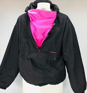 Vintage ski jacket Sunice 80's men's size XL black/ neon pink