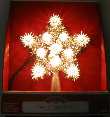 """New Light-Up Star Christmas Tree Topper 6"""" Silver w/ Clear Lights"""