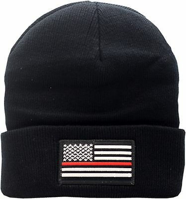 American Flag Red Line Cuffed Knit Hat 13372 ()