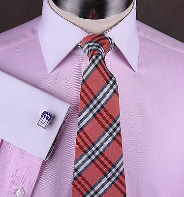 - Men Pink Herringbone Formal Business Dress Shirt White Collar French Double Cuff