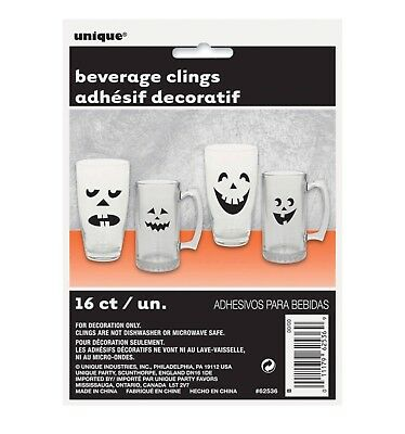 16 Halloween PUMPKIN FACES Beverage Clings Party Supplies Jack-O-Lanterns  - Halloween Pumpkin Faces Coloring