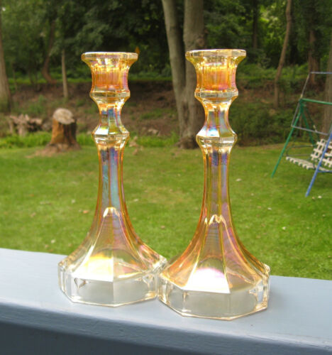 """Set 2 Imperial Glass Carnival Iridescent Clear 9"""" Candlestick Candle Holders"""