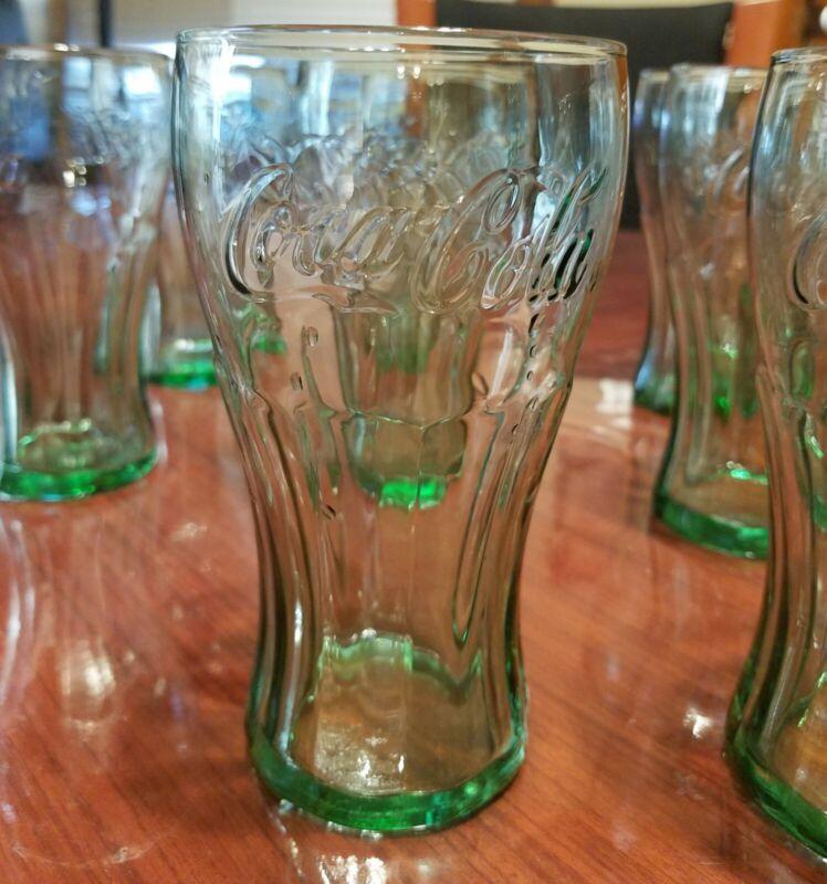 "Vintage Coke Glass Genuine Coca-Cola Green Large 6"" Tall Glasses  16.75 OZ NEW"