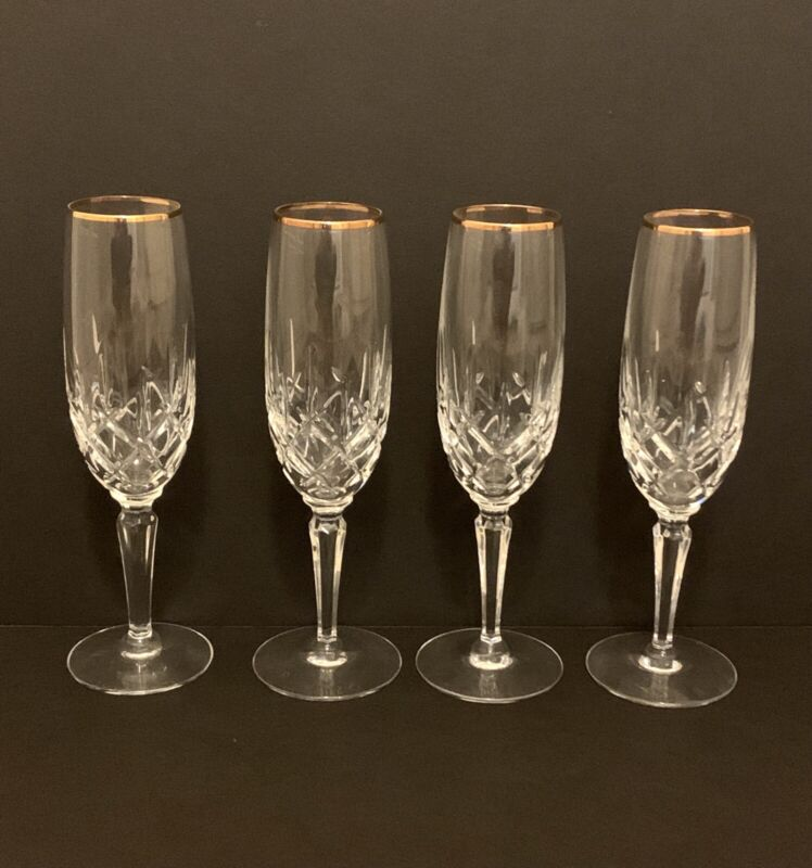 Gorham Lady Anne Gold Champagne Flute Lot Of 4, NEW