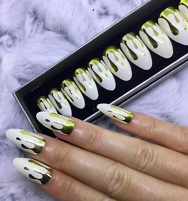 Gold Blood Drip Halloween False Fake Short Length Rounded Stiletto Nails Set - Halloween Stiletto Nails