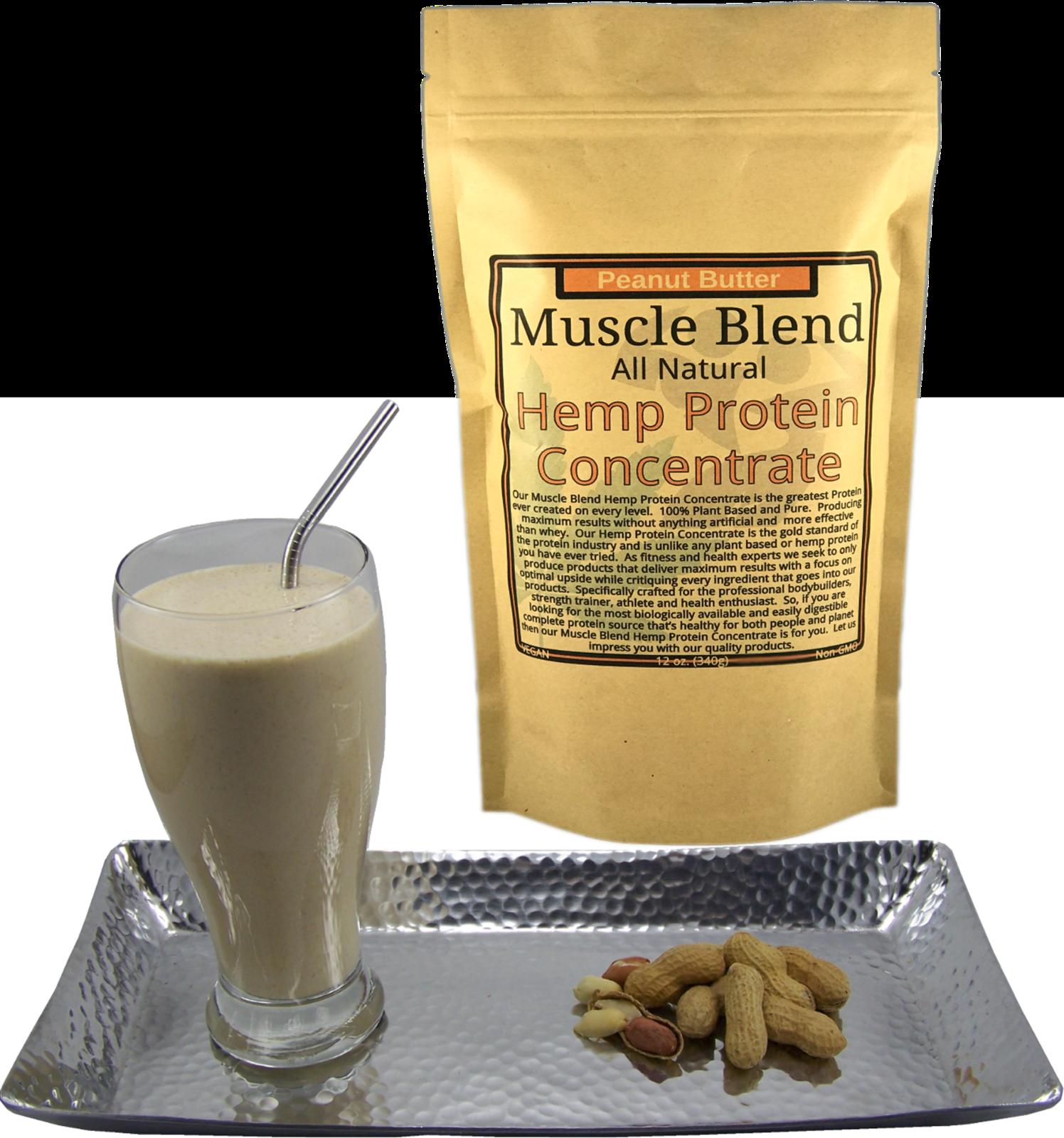 Peanut Butter Hemp Protein Powder Concentrate, Vegan, 100% Pure, Muscle Blend