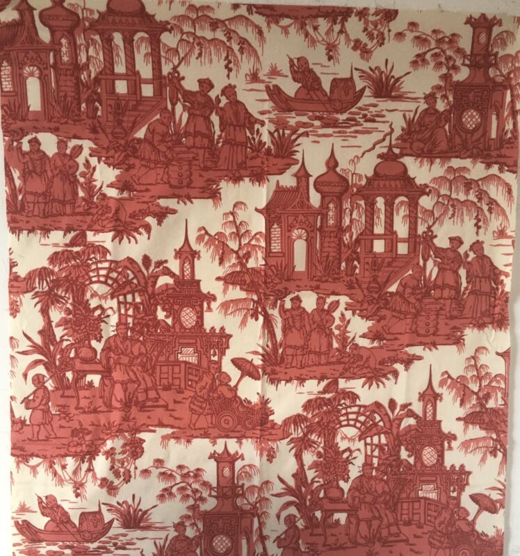 Beautiful 20th C.  French Chinoiserie Conversational Toile Fabric  (3201)