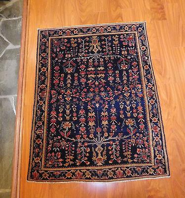 Antique Persian Sarouk rug 3'6''x4'9'' rare carpet  ca.1920s