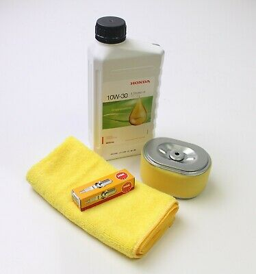 Honda GX120 Service kit. Air filter, NGK BPR6ES plug, 600ml Honda oil & cloth.