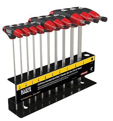 Klein Tools Jth610eb 10pc 6 Sae Ball-end Journeyman T-handle Set With Stand