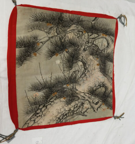Antique Japanese Chinese Painting Embroidery Fukusa Gift Cover Pine Prunus