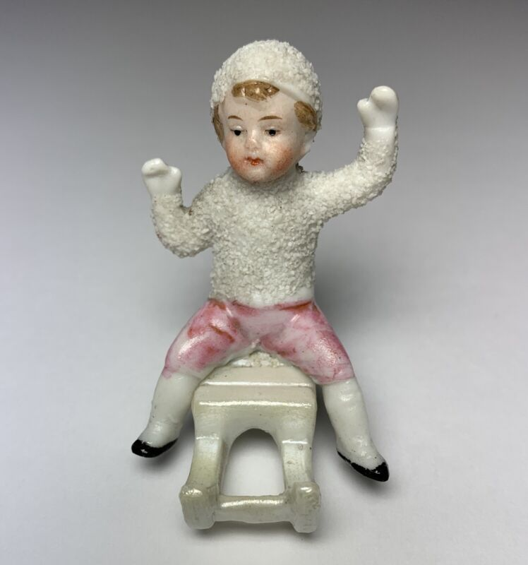 Antique GERMAN SNOWBABY SNOW BABY On SLED MARKED GERMANY 8727