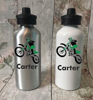 Personalised Motorcross Bike Drink School Water Bottle Girls Boys sport