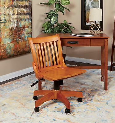 Swivel Office Desk Bankers Chair Rolling Adjustable Solid Wood Caramel Brown
