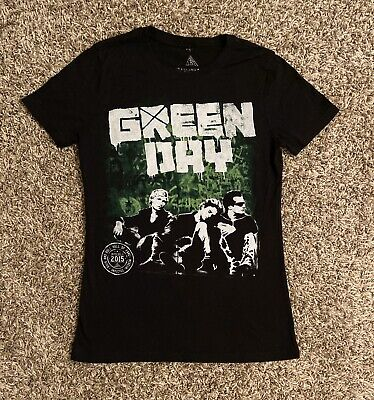 Green Day Rock And Roll Museum Hall Of Fame 2015 Womens T-Shirt Large Black EUC Day Black Roller
