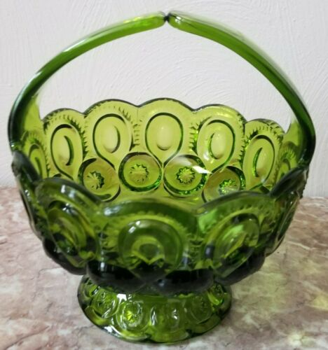 Split Handle Basket - Moon & Star Pattern - Green Glass - LE Smith Glass USA