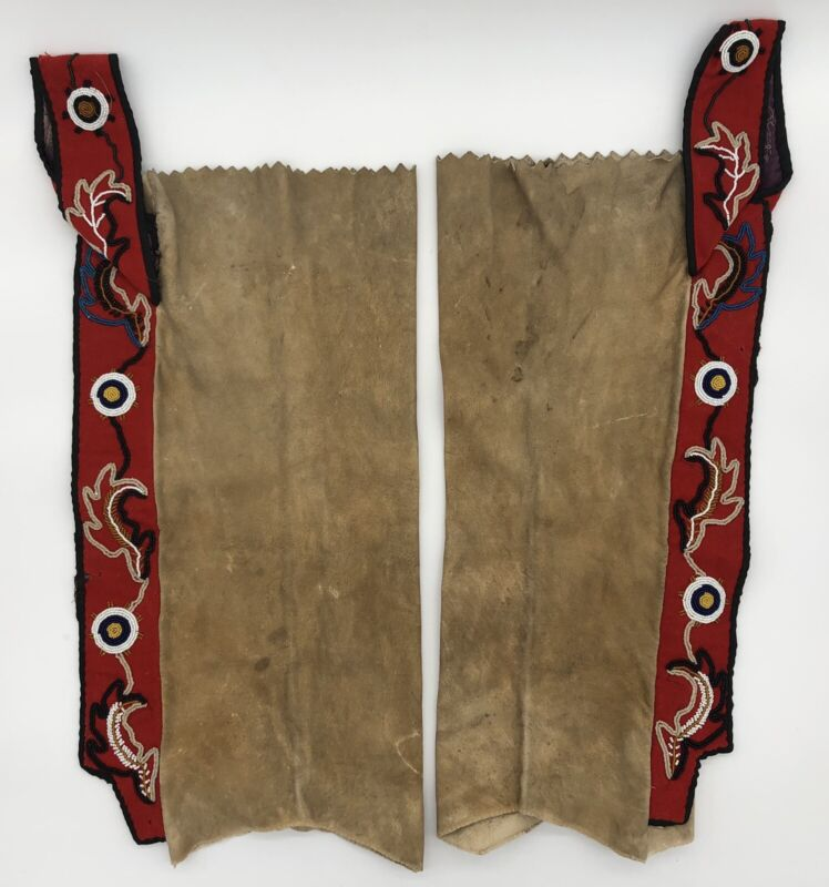 Old Native American Beaded Hide Leggings