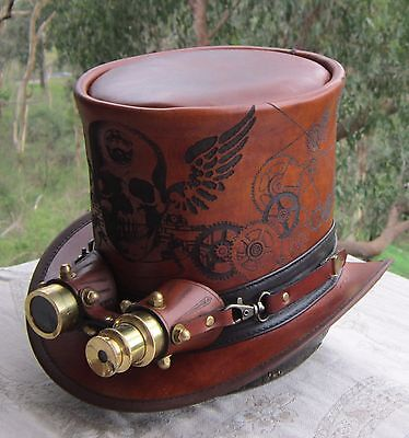 SKULL AND WINGS ETCHED STEAMPUNK COSPLAY TOP HAT WITH GOLDEN AVIATOR GOGGLES](Aviator Goggles And Hat)