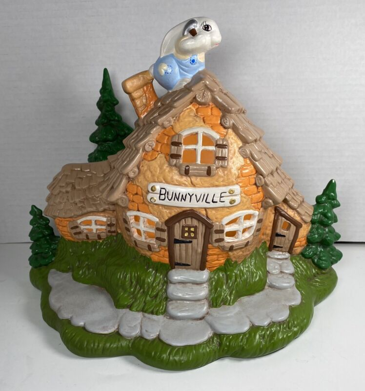 """Vintage Ceramic Lighted Hand Painted Easter Bunnyville Bunny🐰Carrot🥕House 9.5"""""""