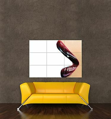 Poster Print Photo Composition Model Lips Glossy Red Lipstick Sexy Cool Seb1007