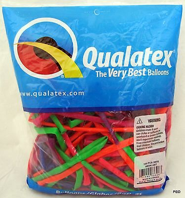 Qualatex Balloons Neon Assortment 100 Count Animal Twist Size 260 Balloon - Twisting Balloons