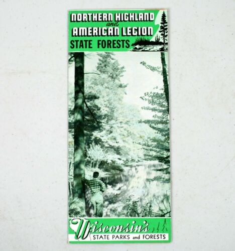 Vintage Northern Wisconsin American Legion State Forest Parks Map Vilas County