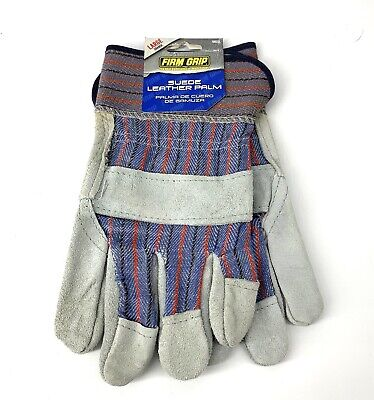 - Suede Suede Leather Palm Sz Large Work Gloves Firm Good Grip Protection New