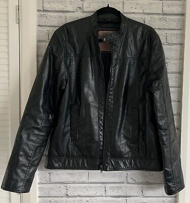 Barneys Men's XL Black Faux Leather Jacket Fully Lined
