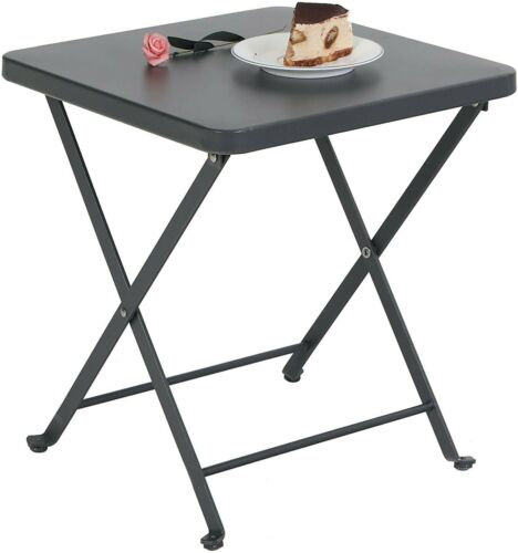 Folding Table Patio Portable Metal Side End Table Outdoor Camping Table Black
