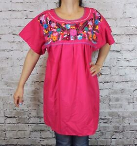 b76f8692e35784 4XL PINK PEASANT PUEBLA HAND EMBROIDERED MEXICAN BLOUSE TOP PLUS SIZE