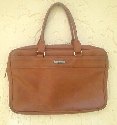 "Vintage Samsonite 3 Compartment Soft Leather Laptop  Documents Bag 12"" x 17"""