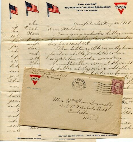 1918 SOLDIERS LETTER  CAMP CUSTER MI L B DONNELLY CADILLAC MI 6PGS YMCA LETTERHE