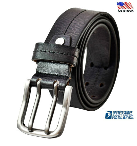 100% Genuine Mens Casual Stitched Leather Double Prong Belt Jeans Dress Us Stock