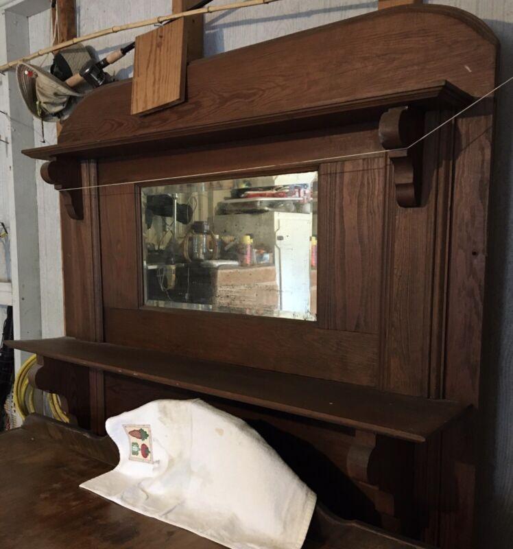 Antique Wood Mantel With Mirror Fireplace Surround Shelf Vintage