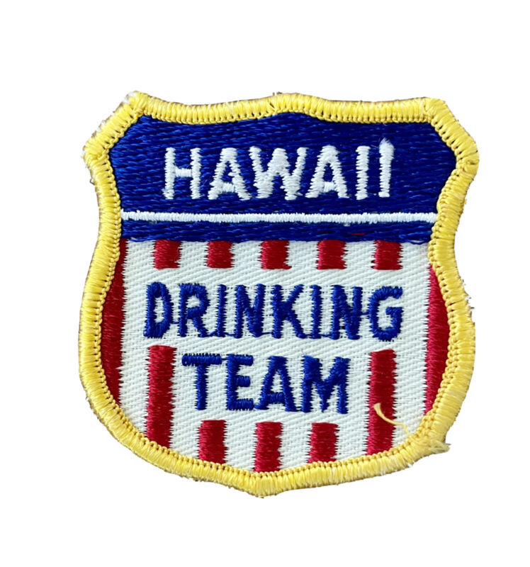 Hawaii Drinking Team 80s Vintage Embroidered Patch Beer Alcohol Liquor Travel