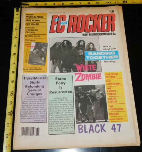 WHITE ZOMBIE Elton John 1992 East Coast Rocker NJ Local Magazine Rob Zombie