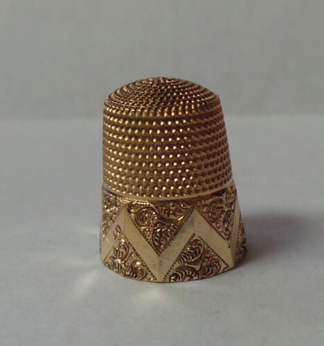 Antique 14K Yellow Gold Beautiful Victorian Floral Design Sewing Thimble 4.4g