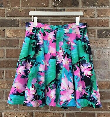 Floral Pleated Skirt (Cynthia Rowley Watercolor Floral Pleated Skirt Green Pink Stretch Womens Medium)