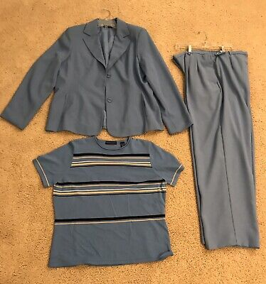 Karen Scott Women's Light Blue 3 Piece Pant Suit Set Polyester Size 18/XL Shirt