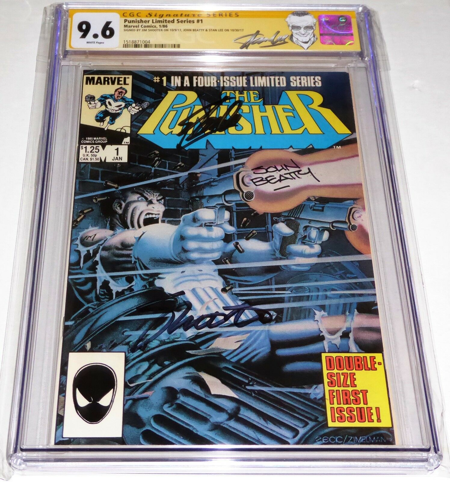 Punisher Limited Series #1 3x CGC SS Signature Autograph STAN LEE SHOOTER BEATTY