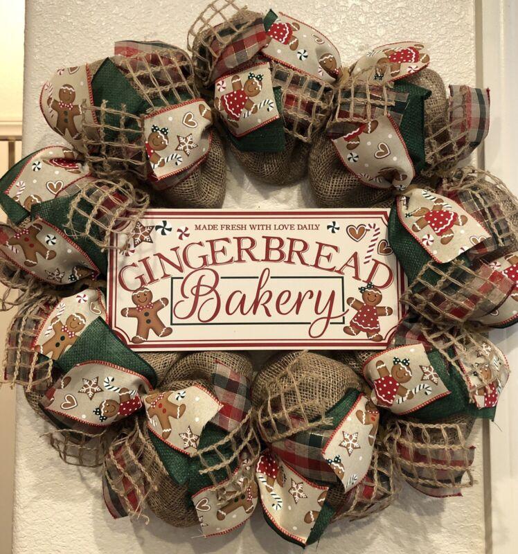 FARMHOUSE GINGERBREAD 🎄 BURLAP Deco Mesh CHRISTMAS WREATH 22 X 22 Bakery PLAID