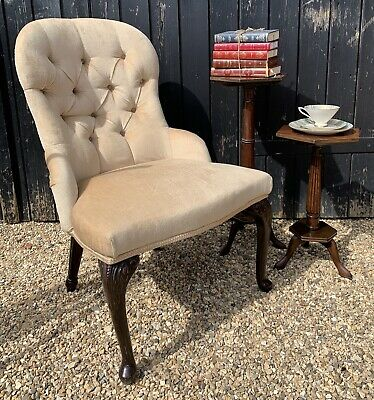 Vintage Button Back Nursing Chair / Bedroom Side Chair