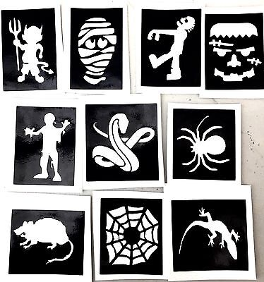 10 x stencils Mummy Snake halloween top up your glitter tattoo kit face painting - Mummy Halloween Face