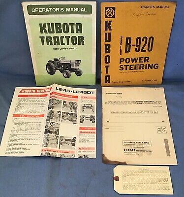 5-vintage Kubota L245 Tractor Owners Operatorspsposterparts Manual Set