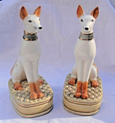 Vintage Pair of Greyhound Whippet Dog Bookends Ceramic Art Deco Hand Painted ,GC