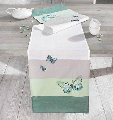 Tischläufer Butterfly, türkis, 40 x 160 cm, Schmetterlinge, Tischwäsche