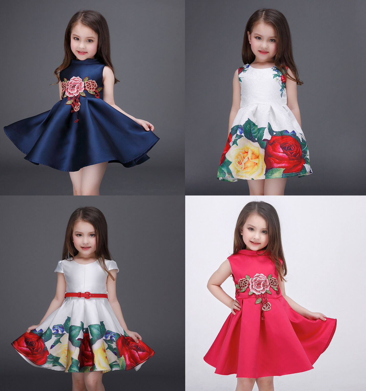 75410ec71287 Details about Fashion High-Grade Baby Kids Girls Princess Dress Flower Xmas Party  Wear Gown